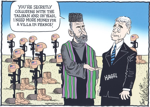 Bob Englehart - The Hartford Courant - Hamid Karzai Meets Chuck Hagel COLOR - English - afghanistan,chuck hagel,taliban,war on terror,terrorism,Hamid Karzai, Villa,France,Secretary of Defense,military