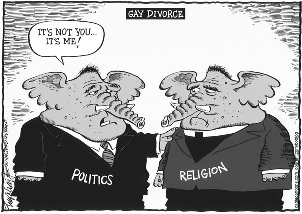 Bob Englehart - The Hartford Courant - Republicans Trying To Change - English - gop,republicans,grand old party,religion,evangelical christians,born again christians,fundamentalist christians,religious right,conservative christians