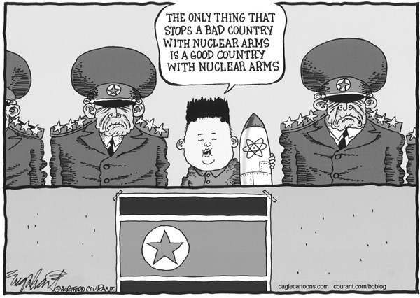 Bob Englehart - The Hartford Courant - North Korea's Kim Jong Un - English - kim jong un,nuclear weapons,threats,korean war
