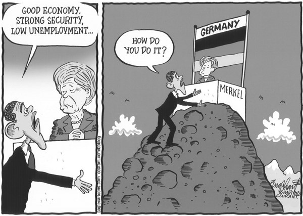 Bob Englehart - The Hartford Courant - Obama Visits Germany - English -