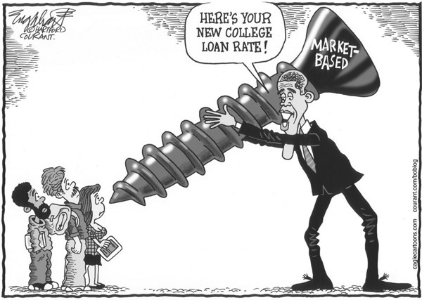 Bob Englehart - The Hartford Courant - New College Loan Rates - English - college loans, borrowing for school,student loans