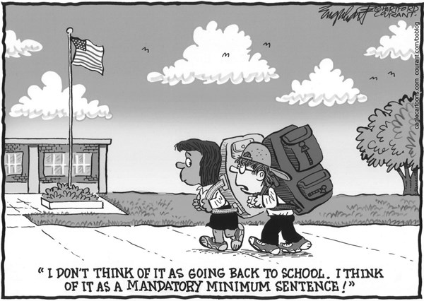 Bob Englehart - The Hartford Courant - Back To School - English - Back To School, school days, school daze,end of summer, summer vacation over,fall semester,school,school starts