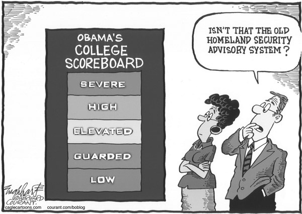 Obama's College Scoreboard © Bob Englehart,The Hartford Courant,college,university,higher education,tuition,high college costs,campus,college rankings,college ratings,obama,homeland security advisory system