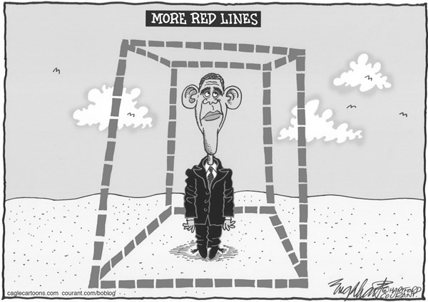 Bob Englehart - The Hartford Courant - Obama's Red Lines - English - obama,syria,assad,red lines,middle east,mideast,damascus,war,congress, cruise missiles,surgical strike,barack obama,president