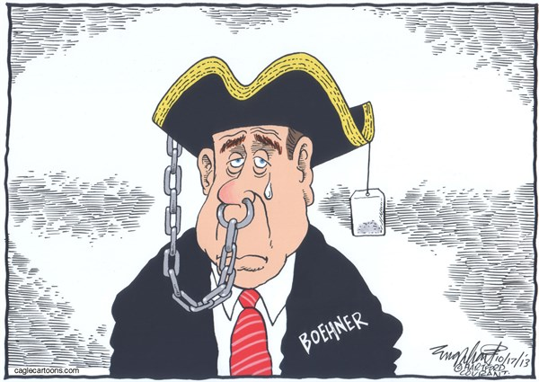 John Boehner © Bob Englehart,The Hartford Courant,speaker of the house, john boehner,shutdown,debt ceiling,default,republican house of representatives,house speaker,mr speaker,tea party,conservative,gop,grand old party