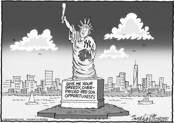 Bob Englehart - The Hartford Courant - Ellsbury To Yankees - English - jacoby ellsbury,red sox,yankees,boston,new york,statue liberty,major league baseball,mlb,