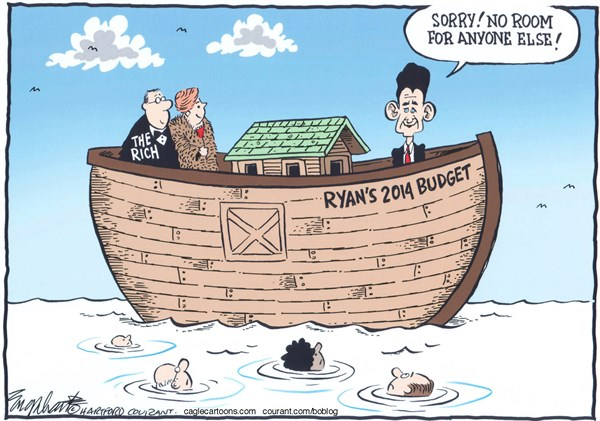 Bob Englehart - The Hartford Courant - Paul Ryan BudgetCOLOR - English - paul ryan budget,house of representatives,tea party,conservatives, chairman house budget committee,paul ryan