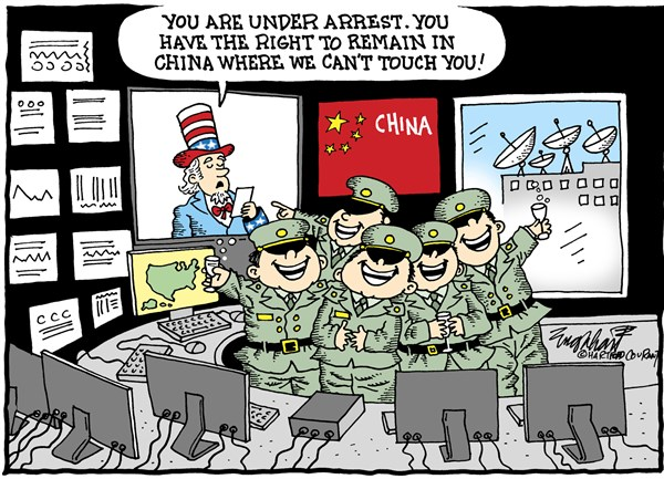 China Hackers © Bob Englehart,The Hartford Courant,china,hackers,indictment,internet security,justice department