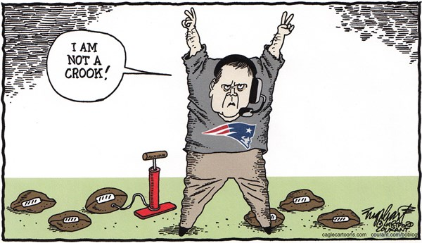 Bill Belichick © Bob Englehart,The Hartford Courant,nfl,new england patriots,superbowl,football,under inflated football,bill belichick,cheater,cheating,national football league