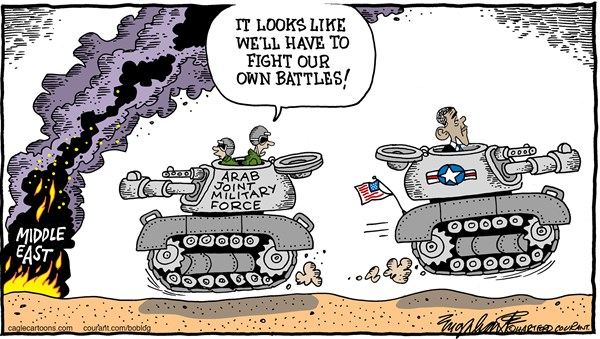 Arab Army © Bob Englehart,The Hartford Courant,arabs,arab joint military force,isis,yemen,saudi arabia, middle east,mideast,isil,isis