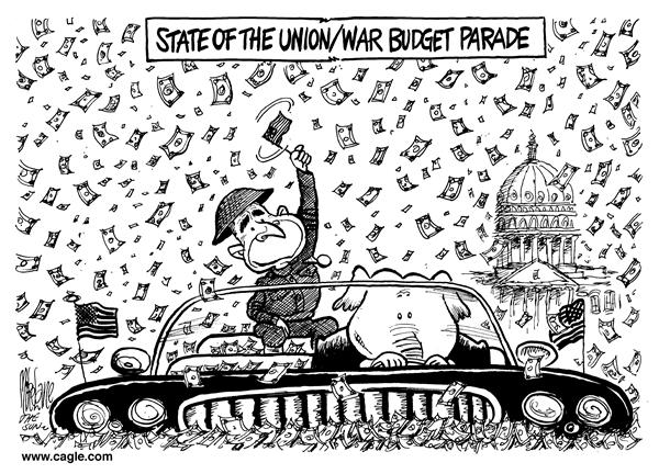 Mike Lane - Cagle Cartoons - State Union Budget - English - State, Union, budget, Bush, parade, war, money, cash, confetti, george, w, bush, speech, parades, budgeting, iraqi, funds, funding, fund, congress, congressional
