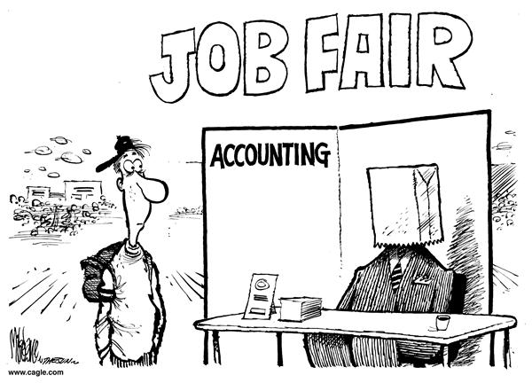 Mike Lane - Cagle Cartoons - Accounting Job Fair - English - accounting, job fair, career, careers, unknown, kids, teen, teens, accountant, accountants, money, finance, jobs, opportunity, opportunities, high school, paper bag, anonymous