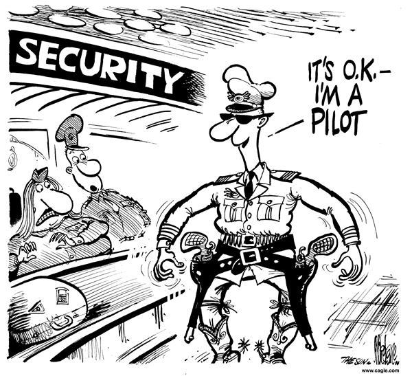 Mike Lane - Cagle Cartoons - Armed Pilots - English - armed, pilot, guns, security, passengers, protection, gun, handgun, handguns, protect, protected, cowboy, cowboys, pistol, pistols, airplane, airplanes, airline, airlines, plane, planes, travel, pilots, terrorims, hijack, hijackers