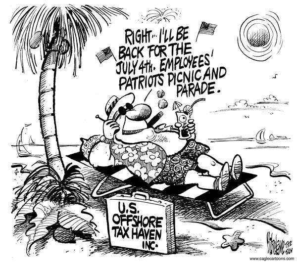 Mike Lane - Cagle Cartoons - Offshore Tax Havens - English - offshore, tax, havens, employees, Patriots, picnic, parade, United States, US, patriot, haven, taxes, taxation, business, businesses, money, fourth, employee, bahamas, island, islands, caribbean, patriotism, july, hypocrite,  4th, hiding, corporate