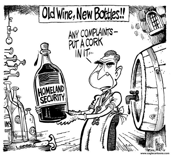 Mike Lane - Cagle Cartoons - Homeland Sec new packaging - English - Homeland Security, packaging, wine, cork, complaints, new, old, bottles, winery, vintage, security, same, bottle, goerge, w, bush, president, package, cork, corks, wines