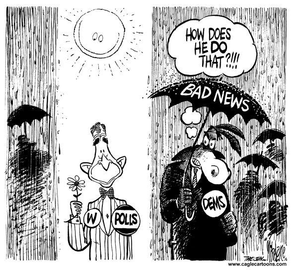 Mike Lane - Cagle Cartoons - Bush Fair Weather - English - Bush, fair weather, polls, Democrats, bad, news, rain, shine, sun, sunny, umbrella, dems, democrat, popularity, popular, approval, rating, ratings, george, w, weather, raining, pour, pouring
