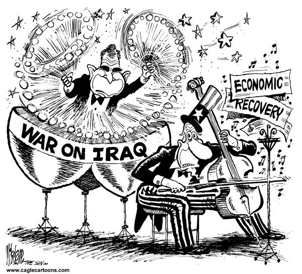 Mike Lane - Cagle Cartoons - War Iraq and the Economy - English - Iraq, Bush, war, economy, Saddam, drum, drums, cello, orchestra, music, musical, george, w, recovery, uncle sam, hussein, economic, econ, beat, beating, timpani, tympani, kettle drums, kettle drum