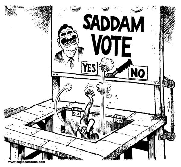 Mike Lane - Cagle Cartoons - Saddam Voting Machine - English - Saddam, Hussein, Iraq, election, war, murder, killing, elections, voter, voting, democracy, trap door, trick, kill, dictator, dictatorship, iraqi, win, winner, election, machine, ballot, ballots, decision