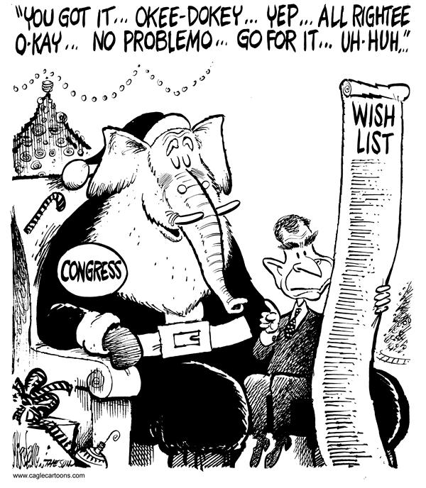 Mike Lane - Cagle Cartoons - Santa Congress - English - Santa Claus, santa, xams, wish, wishes, wishing, Christmas, wish list, president, george, w, majority, congressional, bush, elephant, republicans, kids, children, bill, bills, legislation, legislate, ok, approve, approval