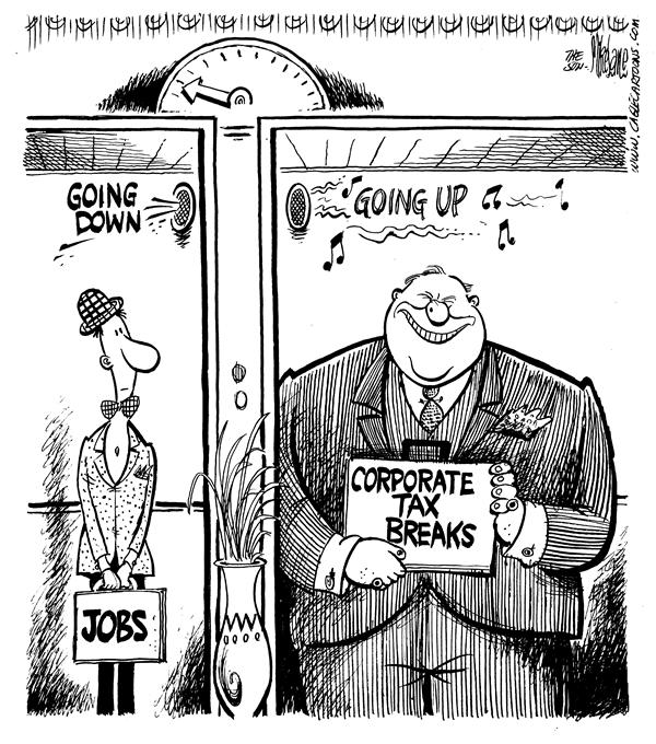 Mike Lane - Cagle Cartoons - Tax Break Elevator - English - economy, corporate, corporations, corporation, wealth, wealthy, tax, taxes, taxation, unemployment, worker, workers, job, jobs, employment, employee, employees, business, businesses, lobby, lobbyist, money, lobbyists, elevator, elevators