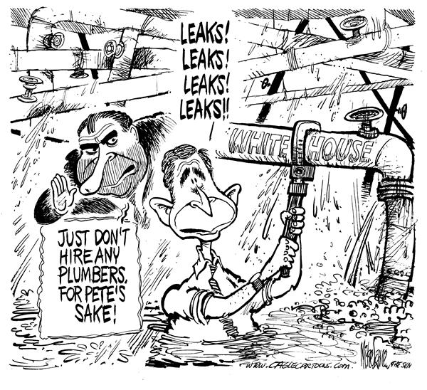 Mike Lane - Cagle Cartoons - White House Leaks - English - Bush, Nixon, leaks, white house, politics, CIA, nixon, leak, leaking, pipes, plumber, plumbling, hire, hired, president, watergate, information, info, scandal, advice, pipe, water, fix, fixing