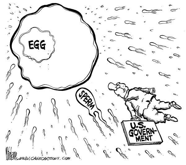 Reproduction Regulator © Mike Lane,Cagle Cartoons,government, regulation, abortion, senate, late term, third term, third-term, abortion, partial birth, sperm, egg, eggs, reproduction, reproductive, abortions, government, pro-choice, regulate, congress, congressional, partial-birth