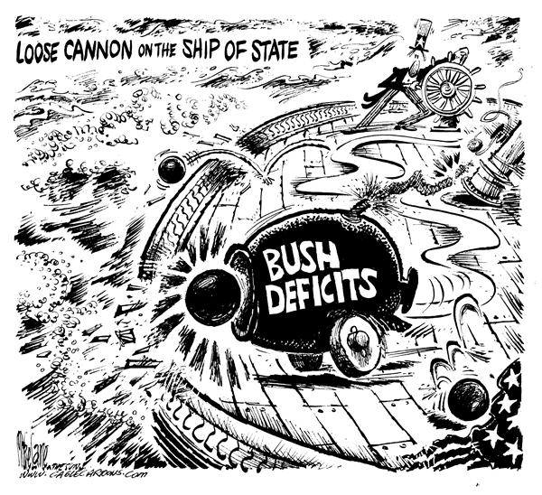Mike Lane - Cagle Cartoons - Ship of State - English - economy, Bush, deficits, spending, loose, cannon, ship, boat, deck, deficit, money, spend, spending, debt, debts, george, w, state, weapon, weapons, economics, fund, funds, funding