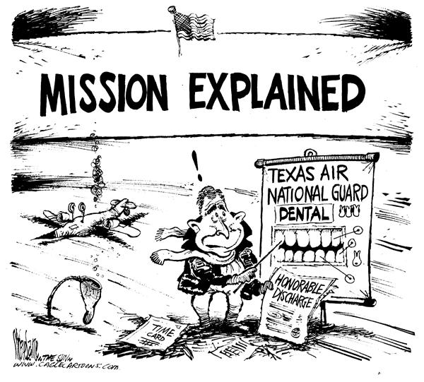 Mike Lane - Cagle Cartoons - Bush National Guard - English - Bush, National Guard, election, 2004, george, w, honorable, dischange, texas, texan, dental, teeth, diagram, dentist, dentists, elections, state, mission, explain, explanation