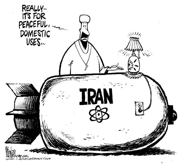 Mike Lane - Cagle Cartoons - Iran nuclear power - English - Iran, nuclear, power, bombs, atomic, weapon, weapons, weaponry, energy, electricity, power, generator, generators, domestic, iranian, ahmadinejad, nuke, nukes, bomb, bombs, WMD, WMDs, lamp, lamps, light, electric