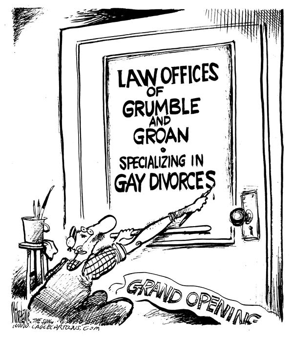 Gay Divorce © Mike Lane,Cagle Cartoons,Gay, divorce, marriage, lawyers, law, gays, homosexual, homosexuals, same-sex, same sex, marriages, lawyer, lawyers, attorney, attorneys, specialty, specializing, divorces, divorcing, law office