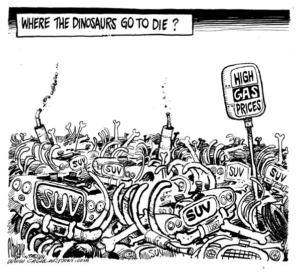 Mike Lane - Cagle Cartoons - Gas Price Graveyard - English - Gasoline, graveyard, cemetary, death, car, automobile, energy, cars, gas, price, prices, expensive, expense, cost, guzzler, guzzlers, SUV, SUVs, dinosaur, dinosaurs, bones, skeleton, skeletons, die, dying, death, fuel, money, junkyard