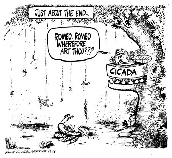 Mike Lane - Cagle Cartoons - End of Cicadas - English - Cicadas, cicada, season, end, bugs, insect, insects, romeo, juliet, shakespeare, noise, noisy, loud, tree, trees, summer, pest, pests, pesky