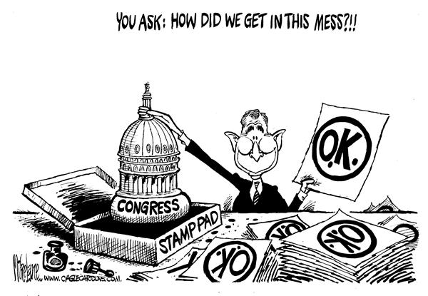 Mike Lane - Cagle Cartoons - Rubber Stamp - English - Congress, Bush, rubber stamp, stamps, stamping, approval, approved, republican, congressional, republicans, agree, legislation, legislature, bill, bills, george, w, agreement, war, terror