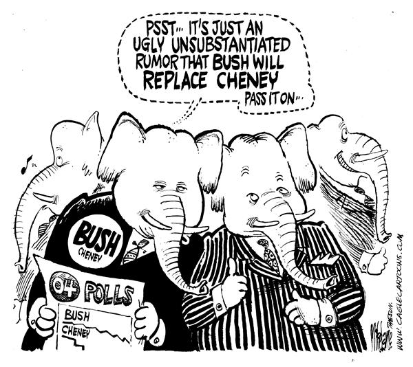 Mike Lane - Cagle Cartoons - Cheney Rumor - English - Bush, Cheney, elections, election, campaign, campaigning, running partner, 2004, Republicans, republican, rumor, rumors, unsubstantiated, vice president, VP, george, w, GOP, republican, polls, approval, rating, ratings