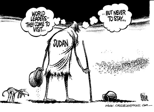 Mike Lane - Cagle Cartoons - Visit to Sudan - English - Sudan, genocide, africa, africans, darfur, drought, poverty, starvation, starving, aid, leaders, leader, help, aid, assist, assistance, UN, United Nations, food, relief, solutions