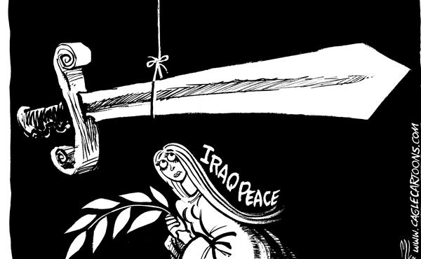 Mike Lane - Cagle Cartoons - Fragile Iraq Peace - English - Iraq, peace, sword, threat, fragile, peace effort, peace efforts, iraqi, threatened, middle east, mideast, mid east, terror, terrorism, terrorist, terrorists