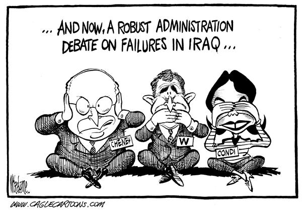 10383 600 Hear Speak See No Iraq Failures cartoons