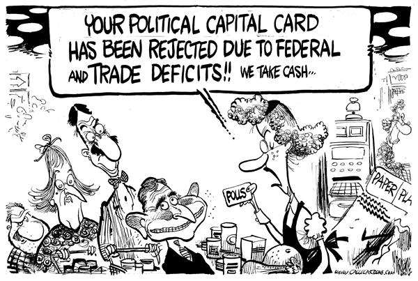Mike Lane - Cagle Cartoons - Political Capital Credit Card - English - Polls, Bush, political capital, capital, credit card, credit, reject, rejected, rejection, george, w, money, deficit, deficits, debt, popularity, unpopular, approval, approval rating, ratings, buy, buying