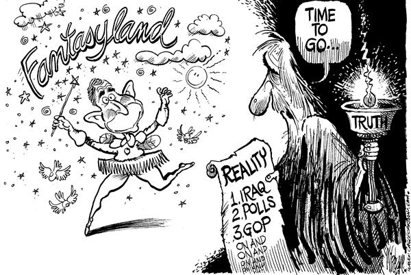 Mike Lane - Cagle Cartoons - Bye Bye W Fantasyland - English - Bush, Polls, george, w, approval, fantasy, fantasyland, reality, rating, ratings, lame duck, president, unpopular, iraq, war, quagmire, iraqi, GOP, republicans