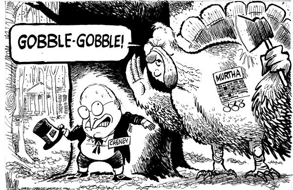 Mike Lane - Cagle Cartoons - Murtha The Gobbler - English - Murtha, general, retired, cheney, turkey, war, iraq, anti-war, gobbler, vp, vice president, hiding, hunt, hunting