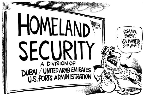 Mike Lane - Cagle Cartoons - Arabs and USPorts - English - Dubai, Arab, Emirates, US Ports, ports, deal, control, shipping, ships, boat, boats, port, osama, UAE, control, terror, terrorism, terrorists, opportunity