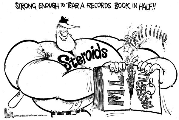 Baseball on Steroids © Mike Lane,Cagle Cartoons,Major League, Baseball, Steroids,drugs, Mitchell, report