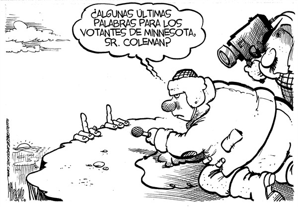 Mike Lane - Cagle Cartoons - Norm Coleman - Spanish - Minnesota, Minneapolis, Norm, Coleman, Republicano