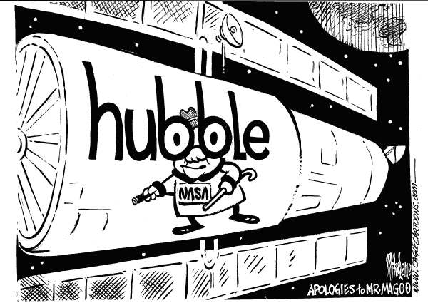 Mike Lane - Cagle Cartoons - Hubble Sees Anew MrMagoo - English - Hubble telescope