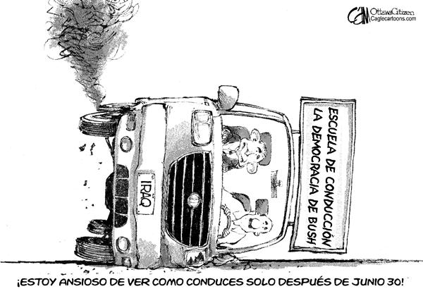 Cardow - The Ottawa Citizen - Escuela de Conduccion de Bush - Spanish - escuela, conducción, bush, manejar, auto, carro, iraq, guerra, poder, entrega, junio 30