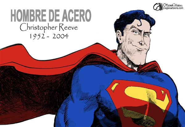Cardow - The Ottawa Citizen - Superman - Spanish - Christopher Reeve,  Superman, muerte, tributo