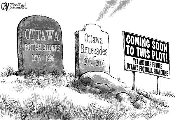 Cardow - The Ottawa Citizen - CANADA Football Graveyard - English - CANADA Ottawa Renegades Rough Riders Football CFL