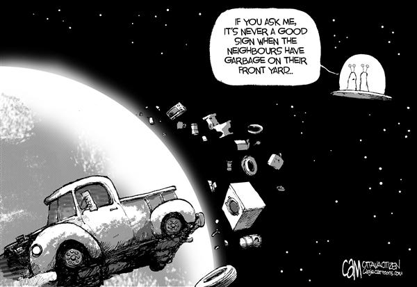 Cardow - The Ottawa Citizen - Space Junk - English - space earth orbit shuttle Atlantis