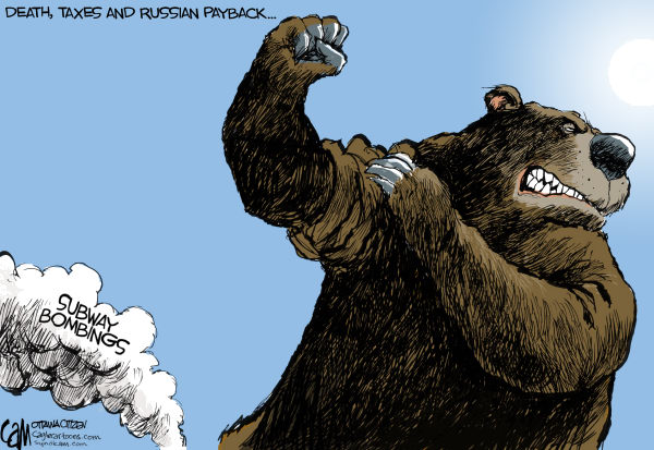 Angry Bear COLOR © Cardow,The Ottawa Citizen,Russia, terrorism, bombing, suicide, bomber