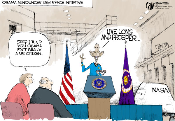 Space Initiative COLOR © Cardow,The Ottawa Citizen,Space, Barack, Obama, NASA, technology, transportation, jobs, science